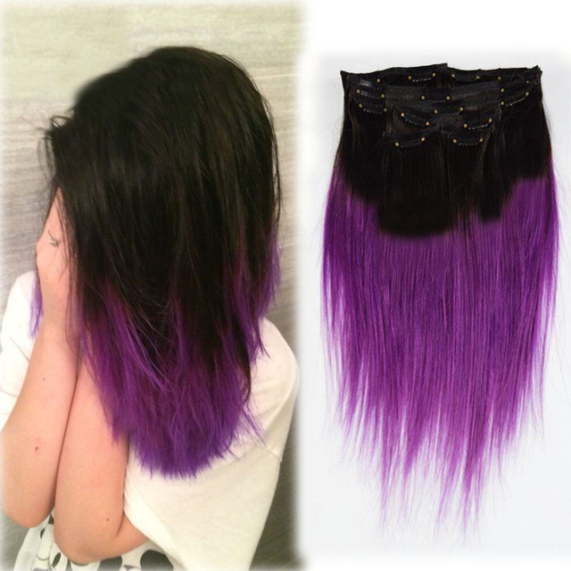 Ombre Clip In Straight Purple Hu Man Hair Extensions Bundles Ombre