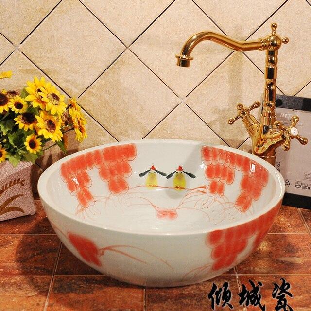Günstige Jingdezhen Keramik Waschbecken Kunst Becken Waschbecken
