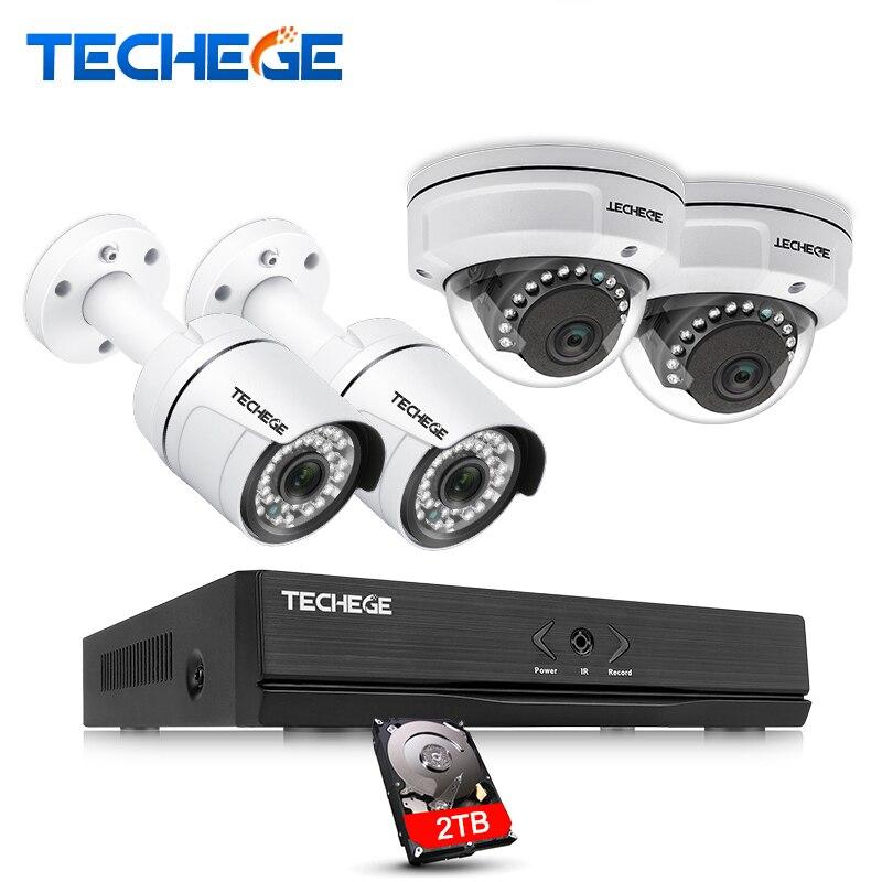 Techege 4CH POE NVR 1080 P HDMI 2.0MP 1.3MP 1.0MP IP Камера всепогодный наружного видеонаблюдения Камера безопасности Системы наблюдения комплект