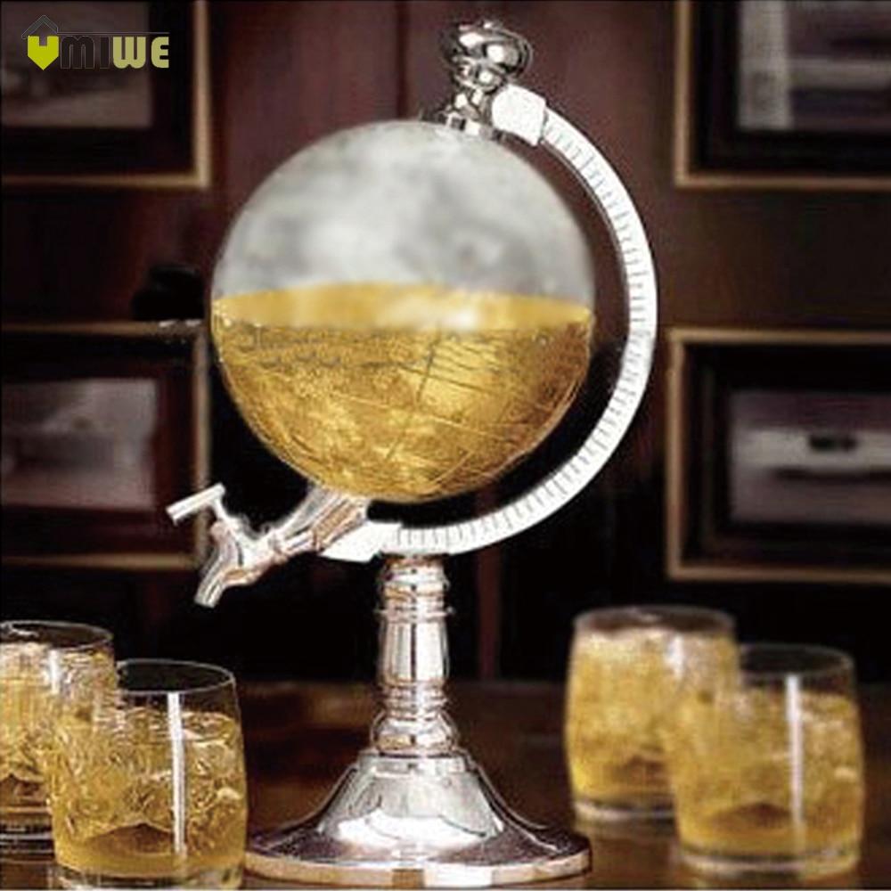 Umiwe High Quality Novelty Globe Shaped Beverage Liquor Dispenser Drink Wine Beer Pump Single Canister Pump