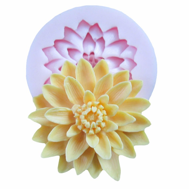 3D Beautiful Lotus Chrysanthemum Flower Silicone Soap Moulds For Fondant Cake Decorating Tools DIY Baking Chocolate Soap Mold