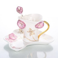 Exquisite China Characteristic Gift Cup Porcelain Enamel Morning Glory Coffee Mug Set 1 Cup 1 Saucer
