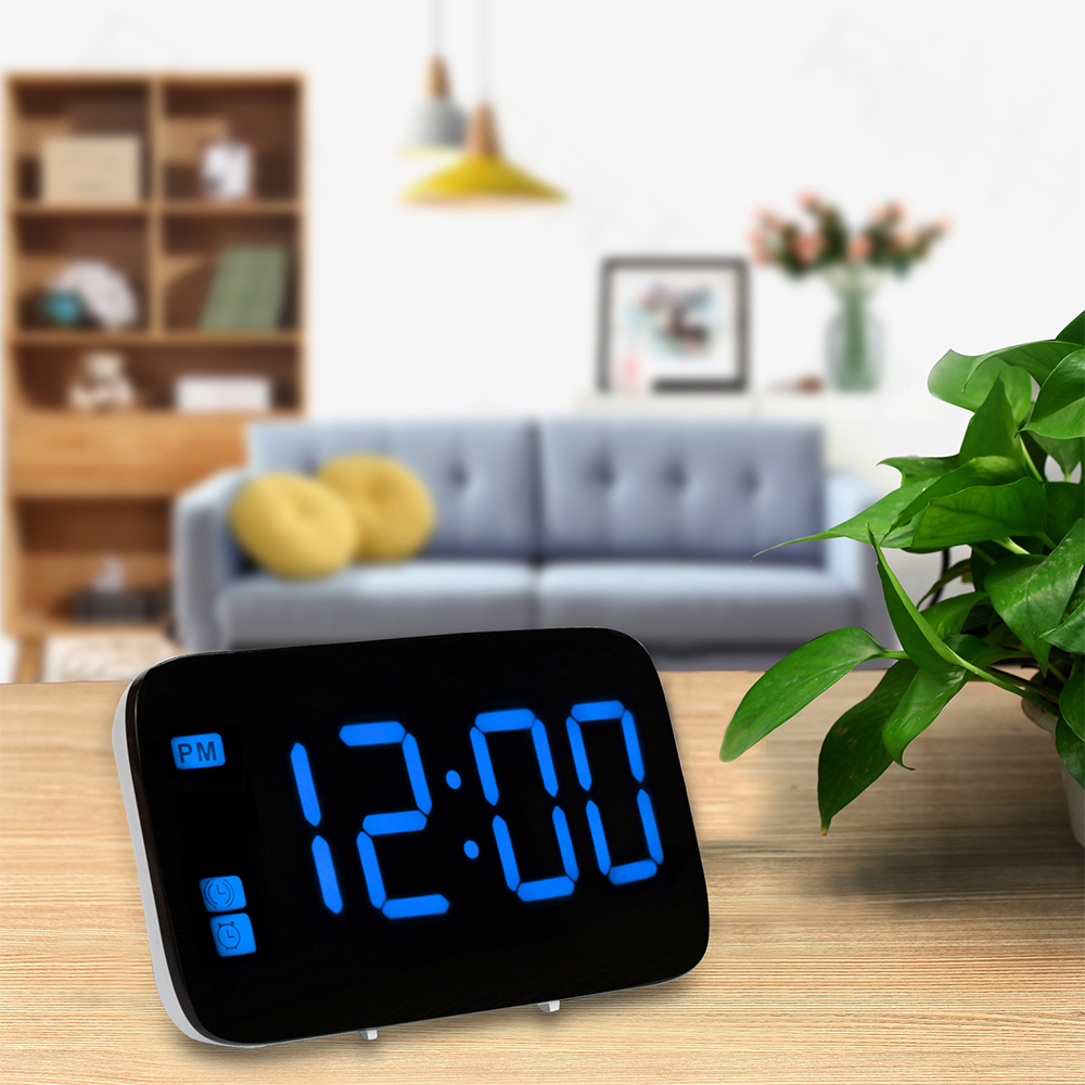 Digital Alarm Clock LED Display Voice Control Electric Snooze Night Backlight Desktop Table Clock Timer Watch USB Charging Cable