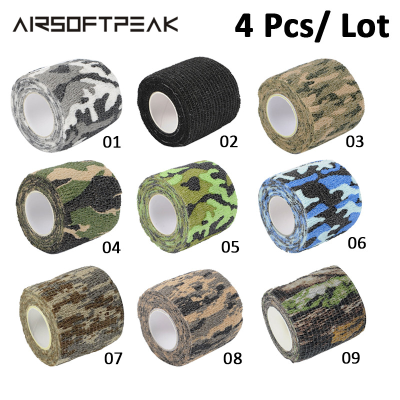 4 Pcs/ Lot Multi-functional Camo Tape Non-woven 5cmx4.5m Army Camo Outdoor Waterproof Wrap Hunting Accessory Bike Tapes Airsoft