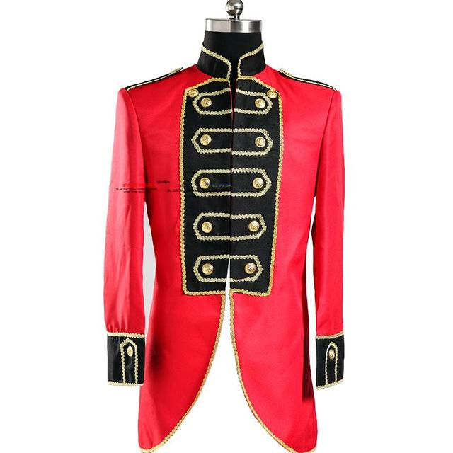 2015 red jacket prom party singer dancer star stage wear Royal male formal dress clothes red small dovetail men's clothing