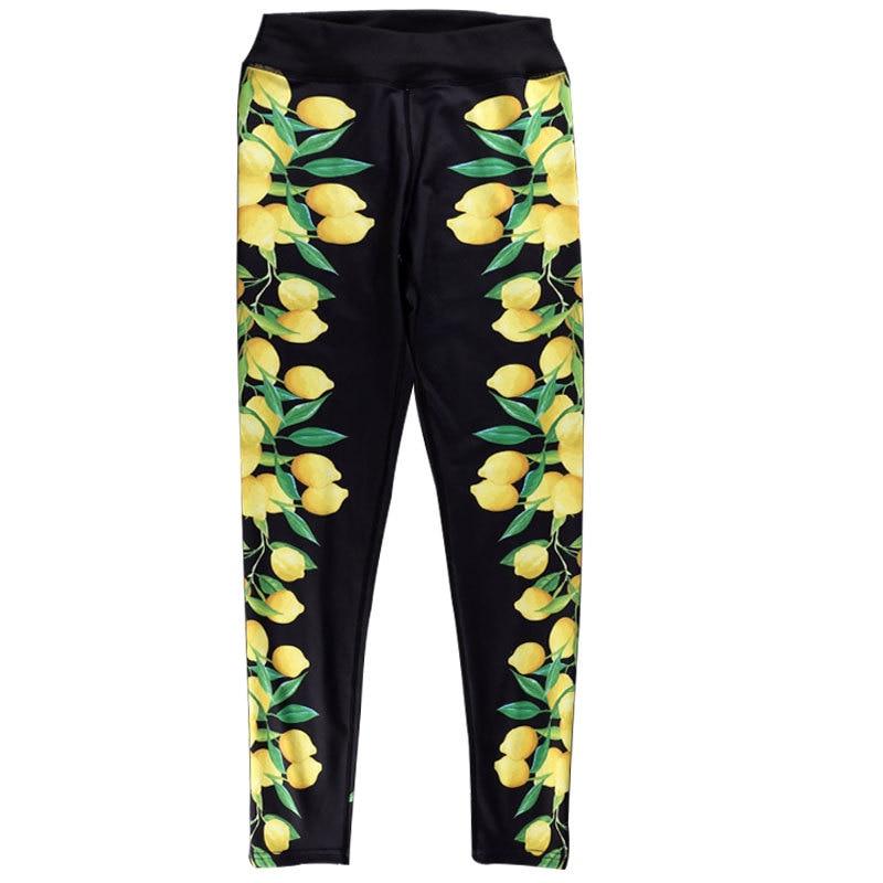 ZOGAA Lemon Printed Jacquard Hip Elastic High-waist Bottom Pants womens leggings leggins sport women fitness printed leggings