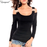 TANGNEST Sexy Lower Cut Casual Top 2017 Fashion Hollow Out Brand Design Solid Black White Tee