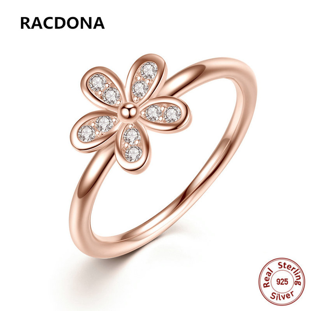 RACDONA 2017 New 100 925 Sterling Silver Clear Zircon Daisy Rose