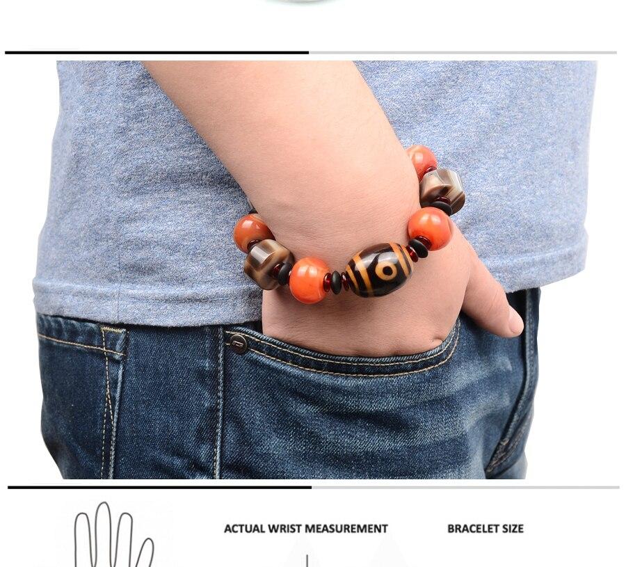 Men\`s Bracelets Big Stone Natural Stone Bracelet Charm Tibetan Beads Men Wrist Dzi Elastic Jewelry Gifts Lucky gemstonee Daily (1)