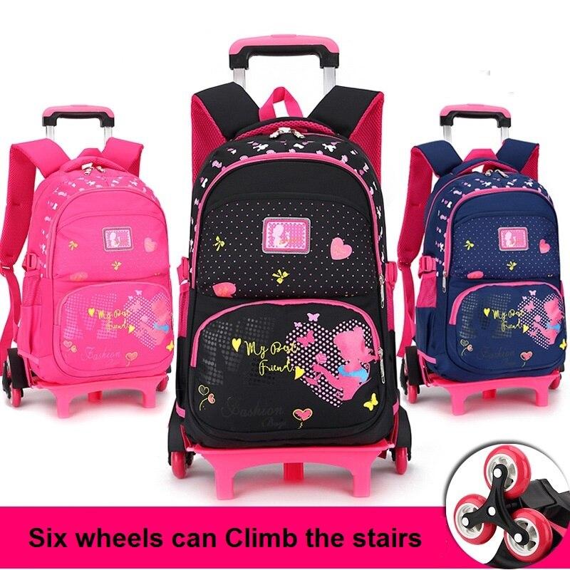b7862de0f569 Повседневное тележка рюкзак колеса детей школьная сумка книги дети сумка  рюкзак со съемной для девочек Mochila Feminina
