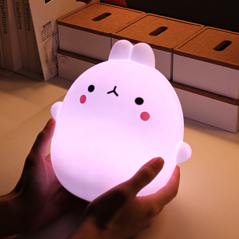 USB Rechargable Silicone Cartoon Rabbit Touch Sensor LED Night Light Remote Control LED Night Lamp for Children Baby Kids Gift keyshare dual bulb night vision led light kit for remote control drones
