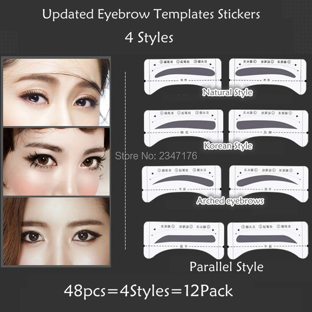 Mix Sale 4 Styles Grooming Shaping Eyebrow Template Stickers