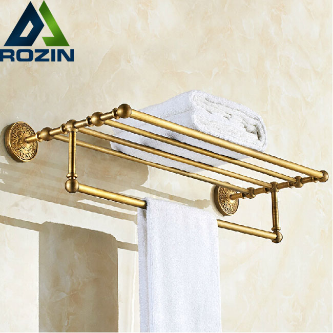 Artistic Bathroom Towel Rack Wall Mount Bath Towel Holder with Towel Bar Antique Brass Finish aluminum wall mounted square antique brass bath towel rack active bathroom towel holder double towel shelf bathroom accessories