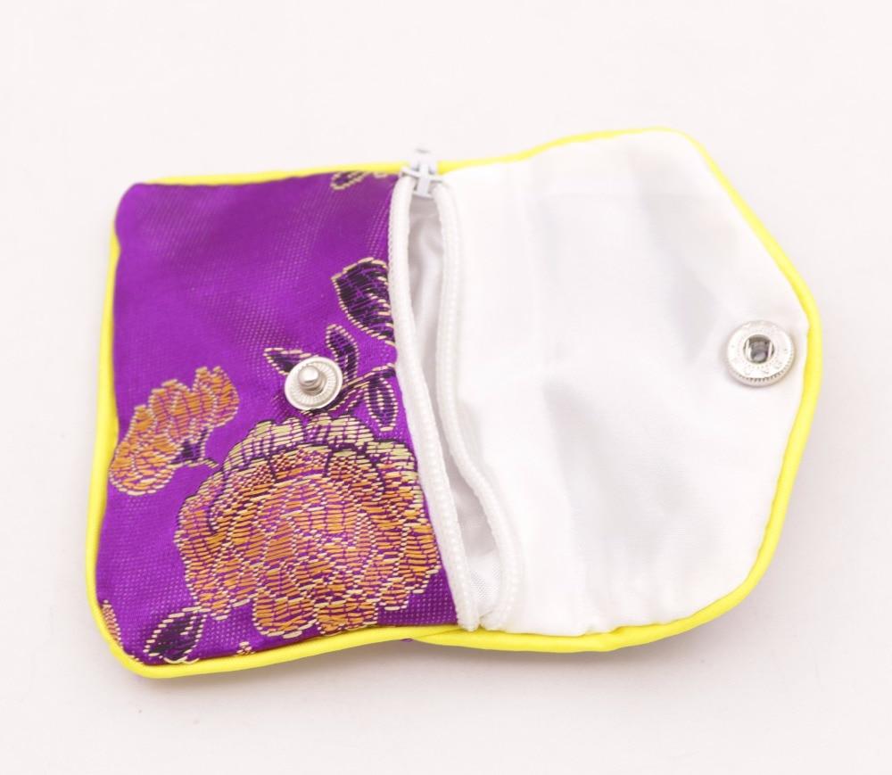 Купить с кэшбэком 10pcs purple flower baldachin cloth gift jewelry bags pouches 65mm*80mm