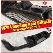 For Mercedes Benz W204 Carbon fiber Rear bumper diffuser V style W/VENT C class C180 C200 C250 C63AMG look Sports Bumper 2012-14 for w204 rear diffuser carbon gloss black opening rear diffuser lip for benz w204 c200 c230 c250 c280 rear diffuser lip 2012 14