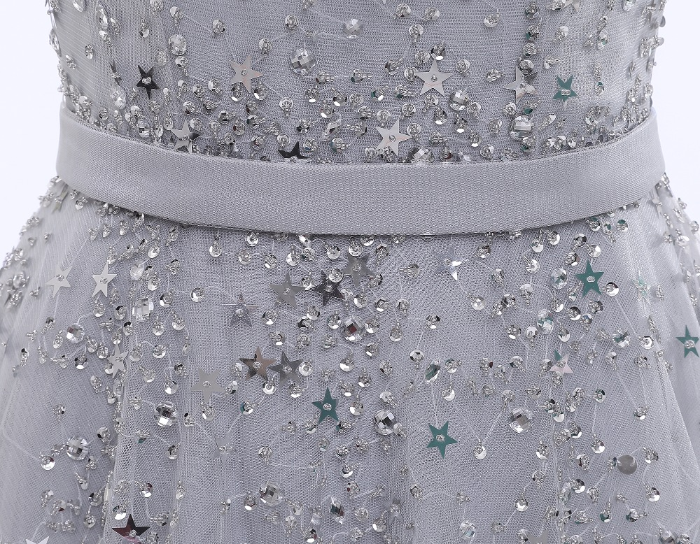 2017 latest glitter stars beading sleeveless long elegant prom dresses  imported party dress A line vestido longo prata-in Prom Dresses from  Weddings ... c3d7fa498e09