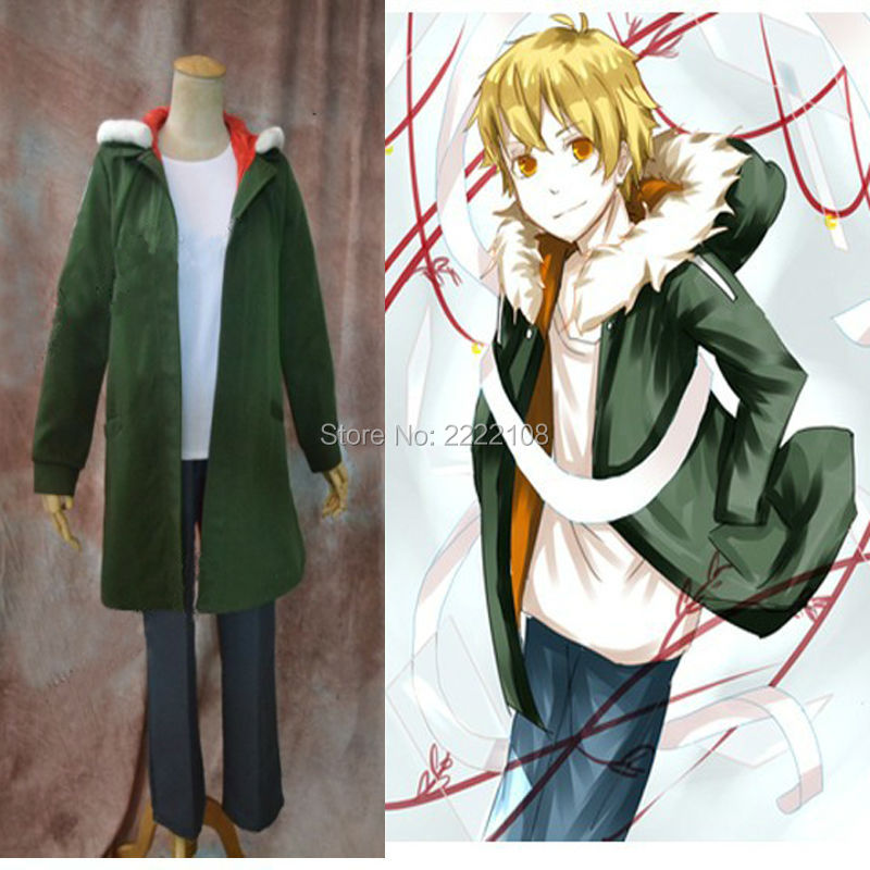 Hot Anime Noragami Yukine Olive green Hooded Jacket Cosplay Costume S XL Cheap Men s Cloth
