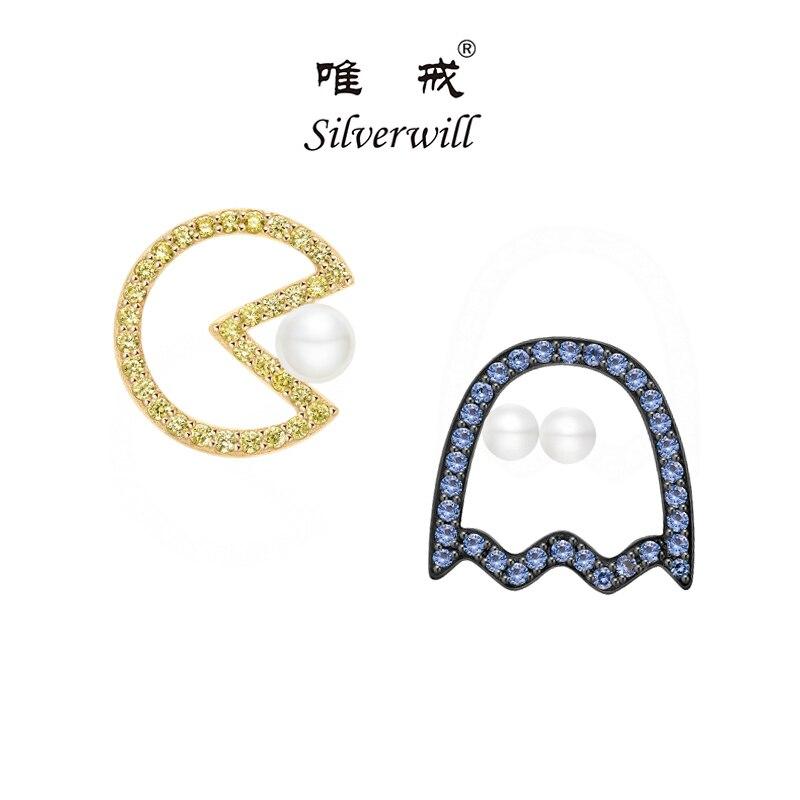 Silverwill 2018 Creative 925 En argent Sterling zircon conception pac man pixel stud boucles d'oreilles filles perle moderne de mode bijoux