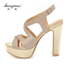 Fanyuan Summer Shoes Women Sandals Chunky Heels Gladiator Shoes Woman Sandalie Sexy Glitter Ladies Platform Sandals Silver Black все цены