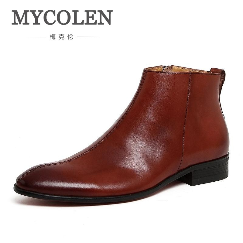 MYCOLEN Brand Genuine Leather Men Boots British Style Black Pointed Toe Chelsea Boots England Men Ankle Shoes Stivaletti Uomo mycolen spring autumn men genuine leather chelsea boots vintage pointed toe ankle outdoor boots wear resistant male shoes