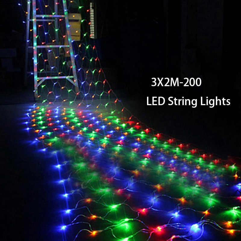 Tail Plug 3*2M 200 LED Wedding Garden New Year Net Mesh Garland LED Christmas Decoration Outdoor Fairy String Light EU Plug 220V