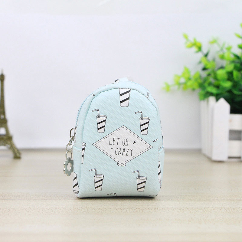 Women Cute Mini Coin Purse PU Leather Printing Card Bag Key Holder Zipper Change Wallet Lady Girl Clutch Money Bags Gift For Kid