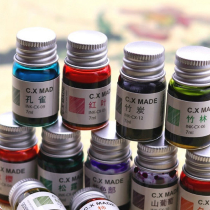 7ml Creative Colored Ink Stationery Painting Ink Signature Pen Non-carbon Ink For Fountain Dip Pen Calligraphy Writing Painting