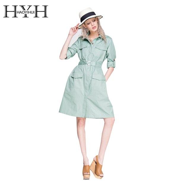 HYH HAOYIHUI 2017 Новый Мода Осень Женщины Повседневная Однобортный Dress Сплошной Зеленый Большой Карман Галстук Талии Тонкий Dress
