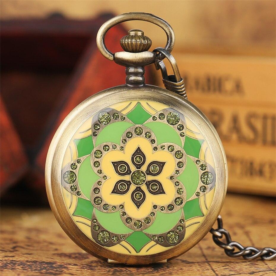 Blooming Flowers Bronze Full Hunter Hand Winding Mechanical Pocket Watch Arabic Numerals Steampunk Antique Clock Pocket Chain