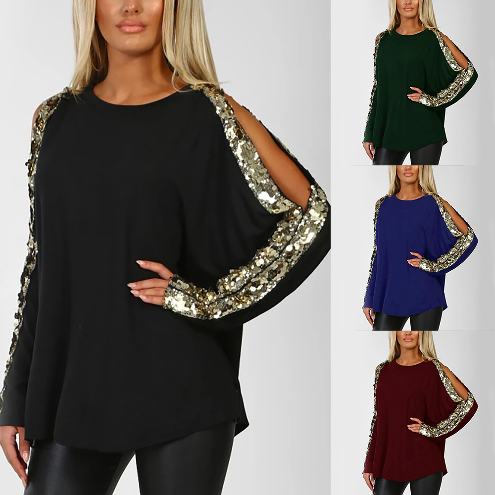 Side Split Hollow Sequined Women Long Sleeve T Shirts Fashion 2019 O Neck Black Female Tee Shirt 2xl S Green Wine Red Tops