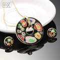 R&X  Necklace/Earrings Trendy S22101 Sieraden Sets Women Anniversary Engagement Necklace Set Gift Stainless Steel Enamel Jewelry