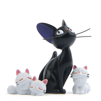 Resin Jiji's Delivery Service Cat Figurines White Animal Ornaments Black Cat Kiki Gigi Miniatures Fairy Garden Decoration Crafts 1