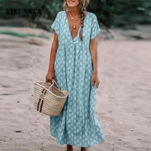 VIEUNSTA 5XL Women Summer Dress Elegant V-neck Floral Print Long Dress Female Short Sleeve Loose Beach Dresses Plus Size Vestido