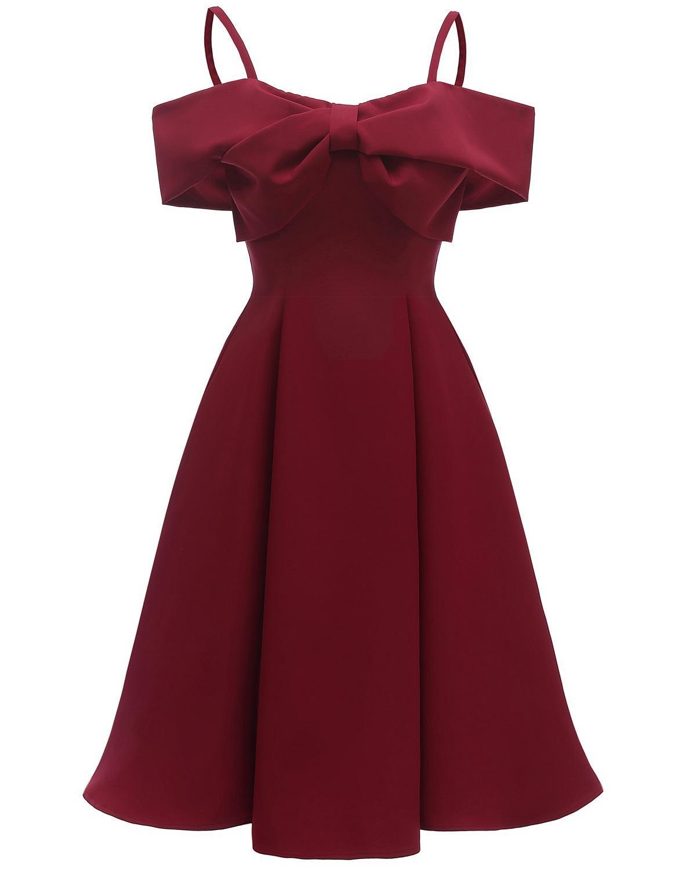 Spaghetti Straps Burgundy Black Navy Blue Cocktail Dresses Bow Robe Elegant Party 2019 Short Vestidos Homecoming Dress