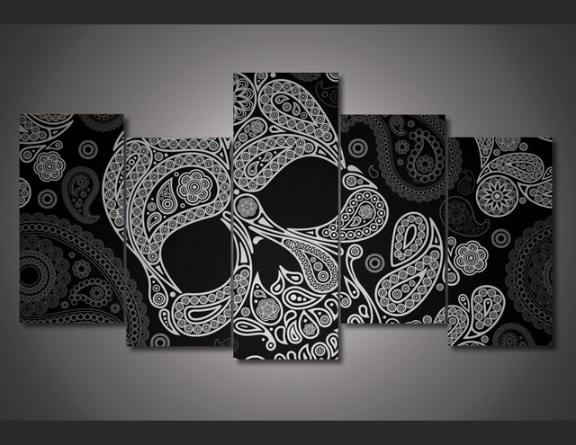 5 Pieces Canvas Art Hd Skull Abstract Canvas Painting Decorations For Home Wall For Living Room