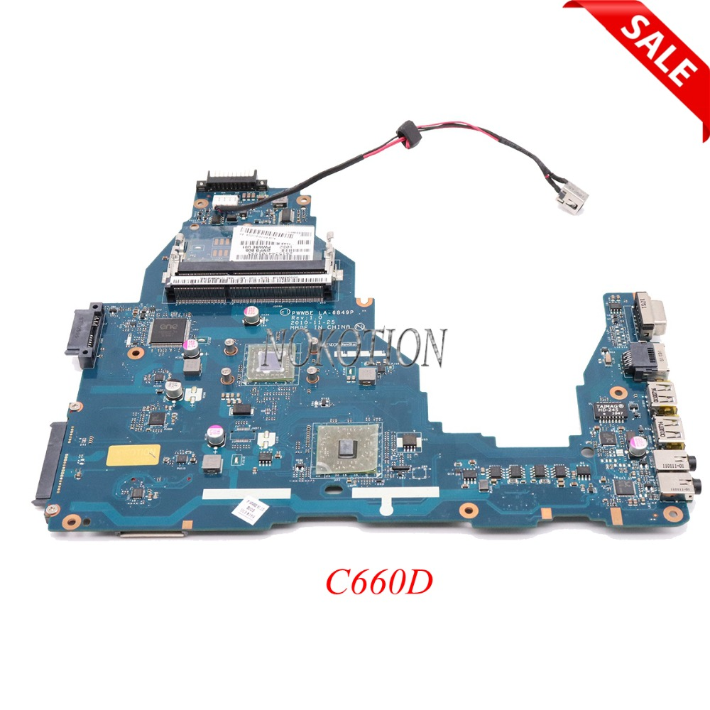 NOKOTION Laptop Motherboard For Toshiba Satellite C660D PWWBE LA-6849P K000115140 K000128540 Main Board Full Tested sheli v000275560 laptop motherboard for toshiba satellite c850 c855 l850 l855 6050a2541801 uma hd 4000 hm76 main board works