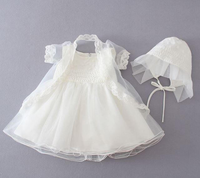 2016 1Year Girl Baby Birthday Dress Newborn Baptism Dress ivory Christening gowns Baby tutu Dress ivory Party Dress