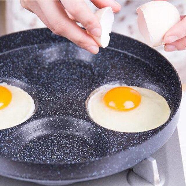 24 CM Creative Non-stick Eggs Ham PanCake Maker Frying Pans No Oil-smoke Breakfast 4 in 1 Grill Pan Gas Cooker