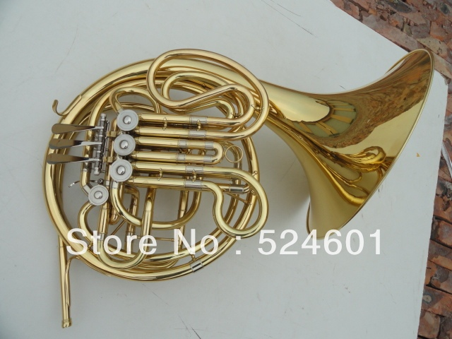Cheap Wholesale A gift  one horn double row 4 key single French horn FB key French horn with case surface gold