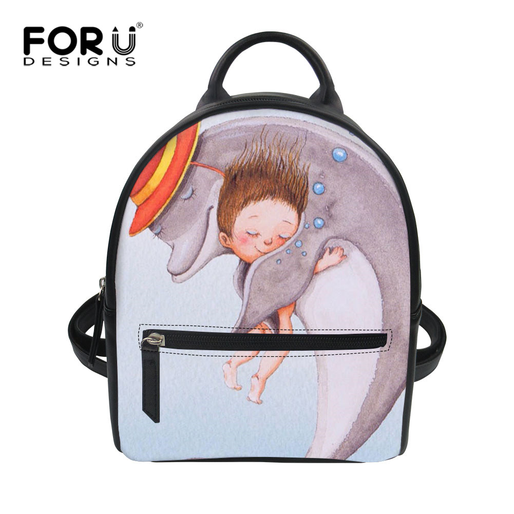 FORUDESIGNS Cartoon Cute Whale Print PU Woman Backpacks Lovely Kids Style Summer Waterproof Feminine Back Pack for Youth Girls