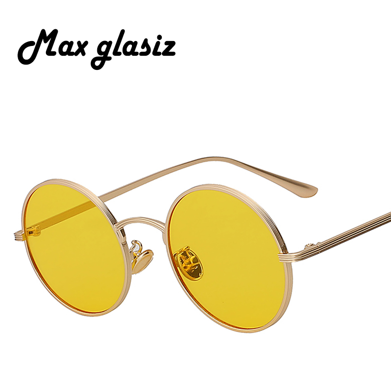 Max glasiz Vintage Sunglasses Women Retro Round Glasses Yellow Lense Metal Frame Glasses Coating Eyewear gafas de sol mujer chic metal bar embellished full frame sunglasses for women