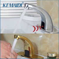 KEMAIDI Gold/Chrome Finished Deck Mounted Stainless Steel Automatic Sensor Faucet Bathroom Wash Basin Touchless infrared Faucet