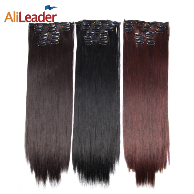 Alileader clip in synthetic hair extensions 56cm long straight alileader clip in synthetic hair extensions 56cm long straight hair 16 colors pure and ombre hair pmusecretfo Image collections