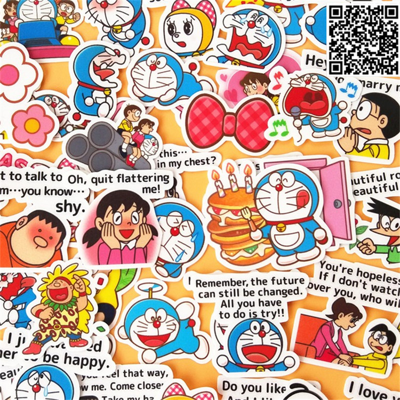 43 Pcs Doraemon And Little Boy Paper Sticker For Luggage Skateboard Phone Laptop Moto Bicycle/Eason Stickers/DIY Scrapbooking