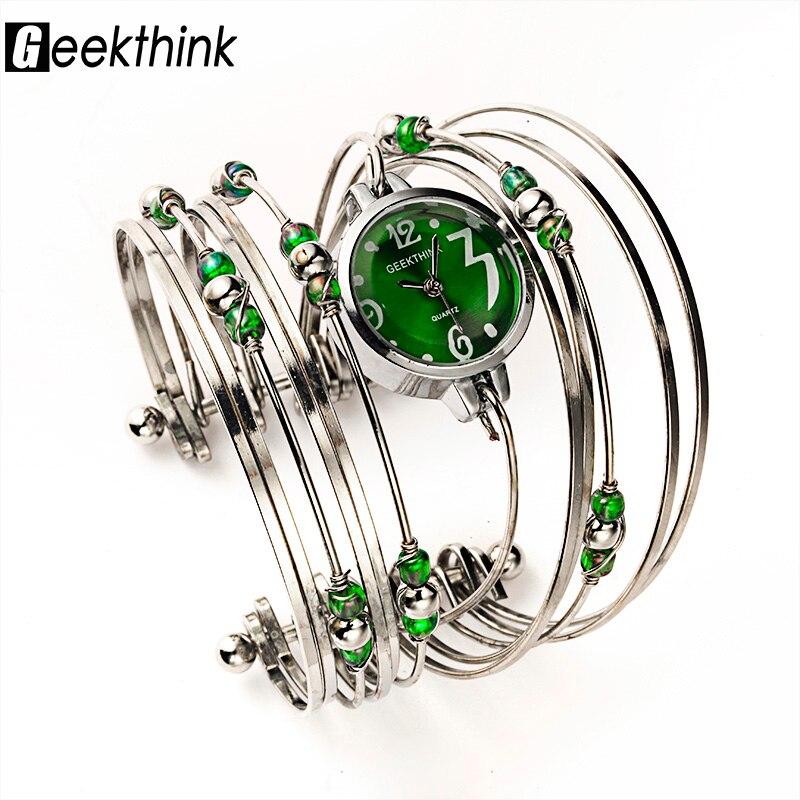 GEEKTHINK Bohemian Style Luxury Brand Quartz Watch Women Bracelet Ladies Casual Dress Steel band Clock Female Girls <font><b>Trending</b></font>