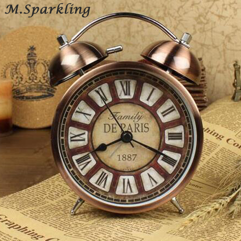 4.3 Inch Alarm Clock Vintage 3D Metal Double Bell Quartz Clock No ticking Bedroom Office Bedside Clock Desk Table Watch