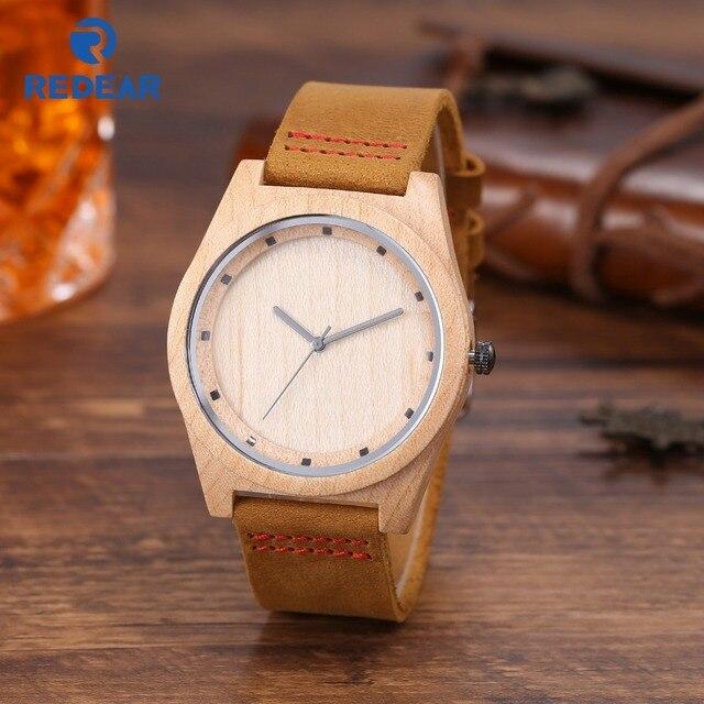 Waterproof Wood Watch men's Watch Bamboo Maple Top Luxury Real Leather Wooden Wa