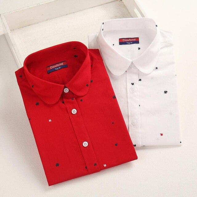 Dioufond 2019 Autumn   Shirts   Women print Cotton   Blouses   Vintage Elegant Ladies Tops Female   Shirt   Long Sleeve Plus Size
