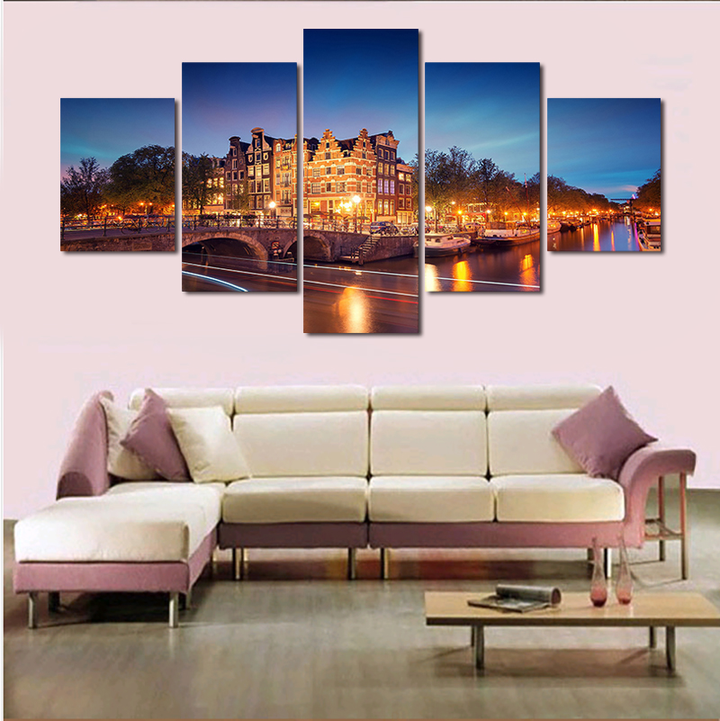 Hot Sale 5 Pieces/set Amsterdam Building Modern Home Wall Decor Canvas Picture Art Hd Print Unframed Painting On Artworks