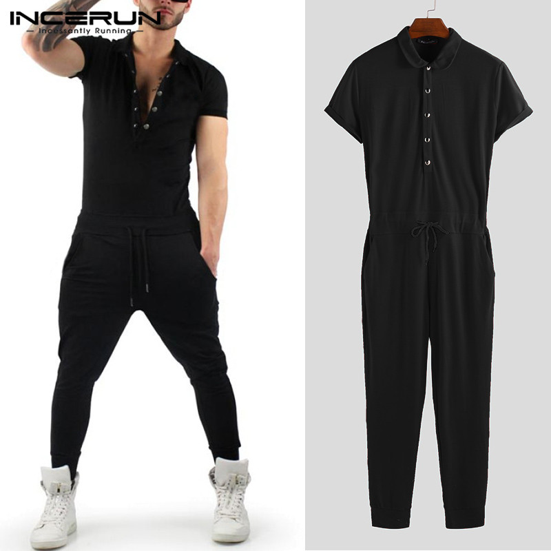 INCERUN 2020 Men Jumpsuit Solid Color Shortsleeve Romper Slim Fit Streetwear Bodybuilding Tracksuit Overalls Men Pants Plus Size